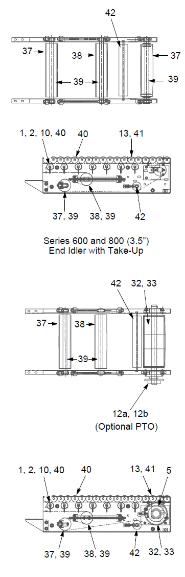 EZ Set End Idler Section with Take Up Parts